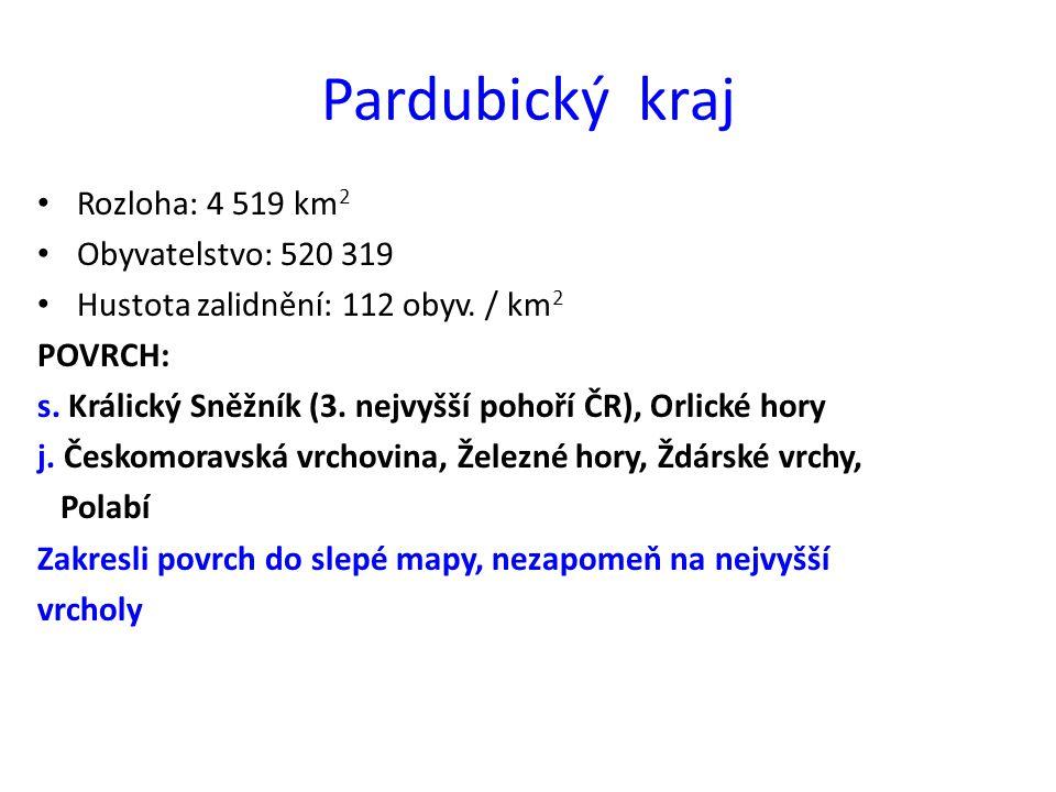 Pardubický kraj Rozloha: 4 519 km2 Obyvatelstvo: 520 319