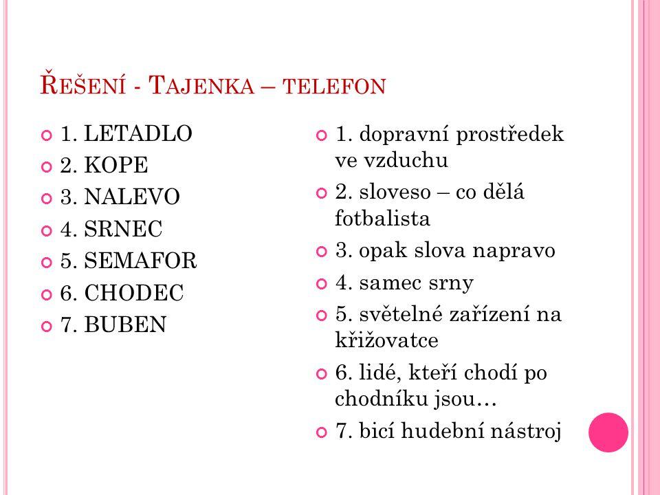 Řešení - Tajenka – telefon