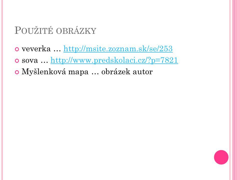 Použité obrázky veverka … http://msite.zoznam.sk/se/253