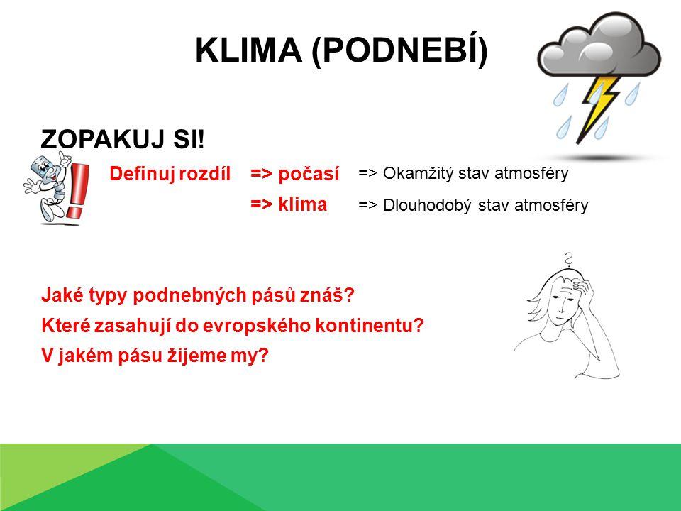 Klima (podnebí) ZOPAKUJ SI! Definuj rozdíl => počasí => klima
