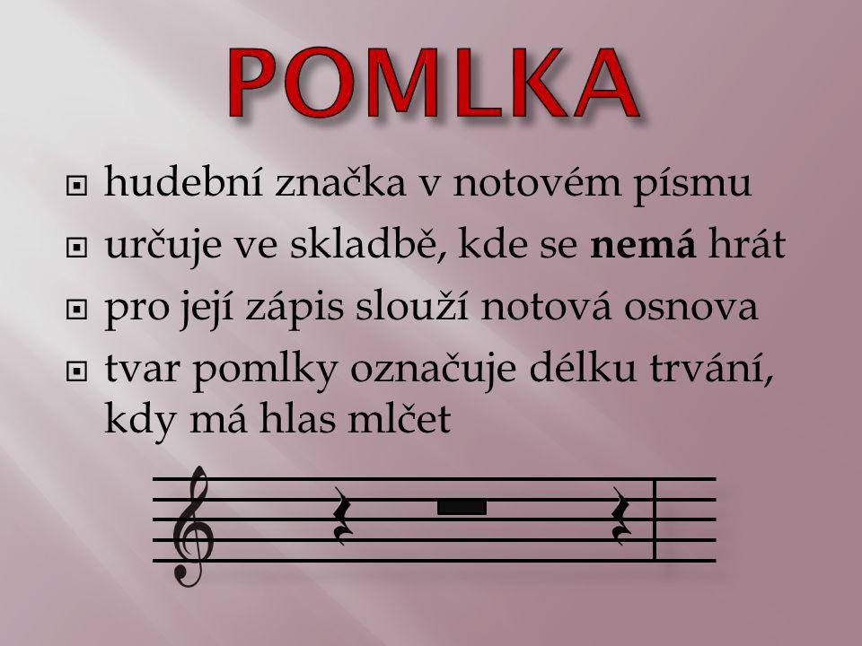 POMLKA hudební značka v notovém písmu