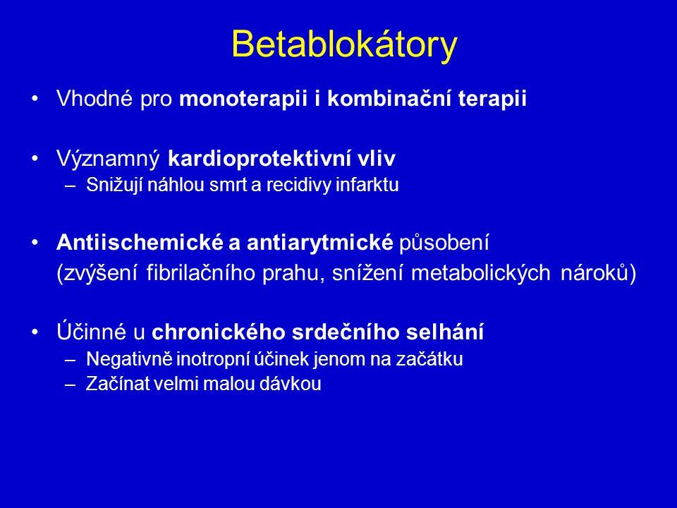 Betablokátory Vhodné pro monoterapii i kombinační terapii