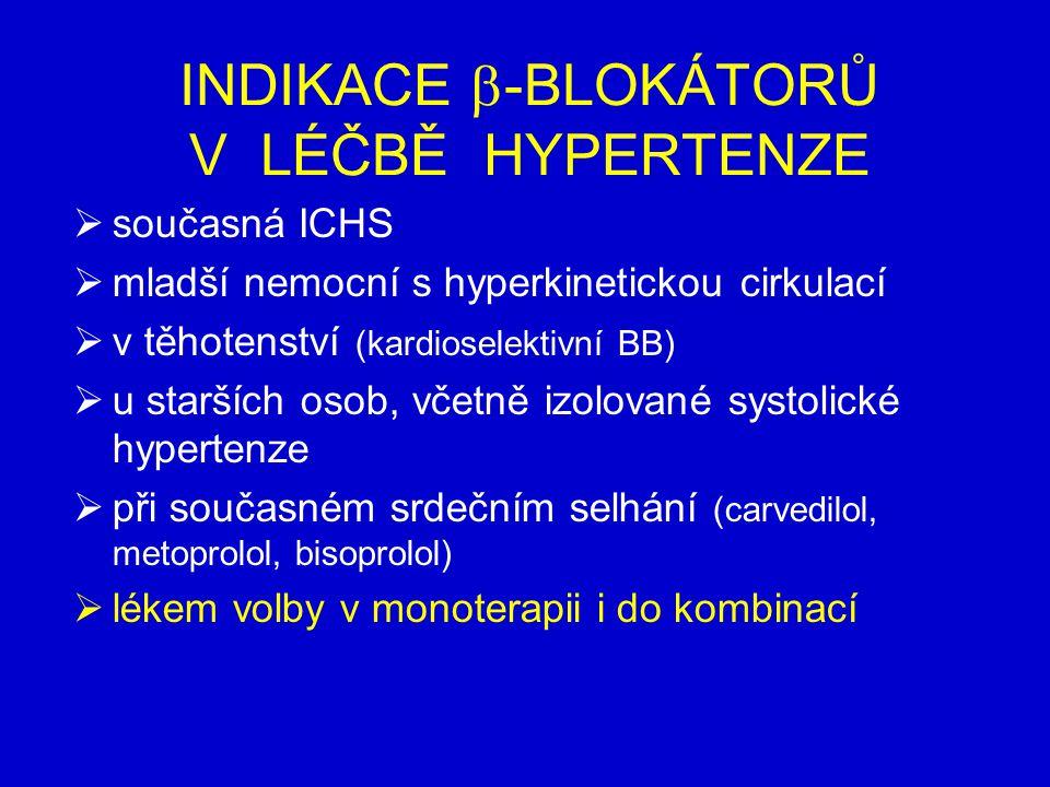 INDIKACE -BLOKÁTORŮ V LÉČBĚ HYPERTENZE