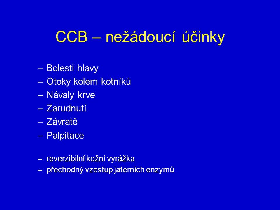 CCB – nežádoucí účinky Bolesti hlavy Otoky kolem kotníků Návaly krve