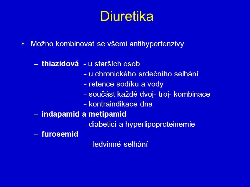Diuretika Možno kombinovat se všemi antihypertenzivy
