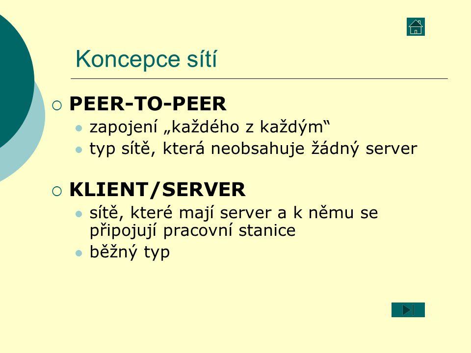 """Koncepce sítí PEER-TO-PEER KLIENT/SERVER zapojení """"každého z každým"""