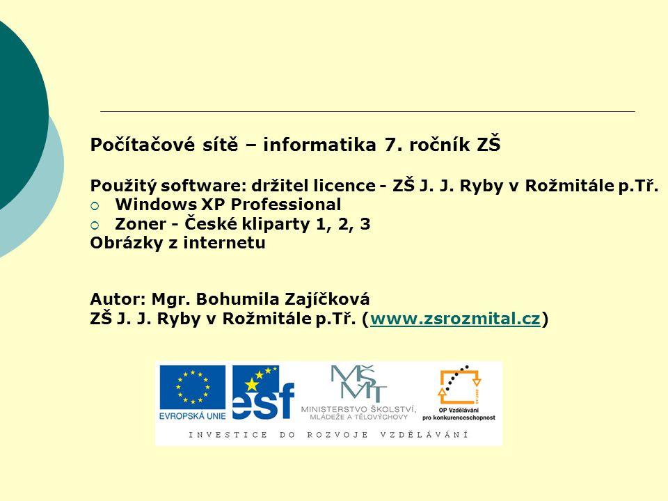 Počítačové sítě – informatika 7. ročník ZŠ