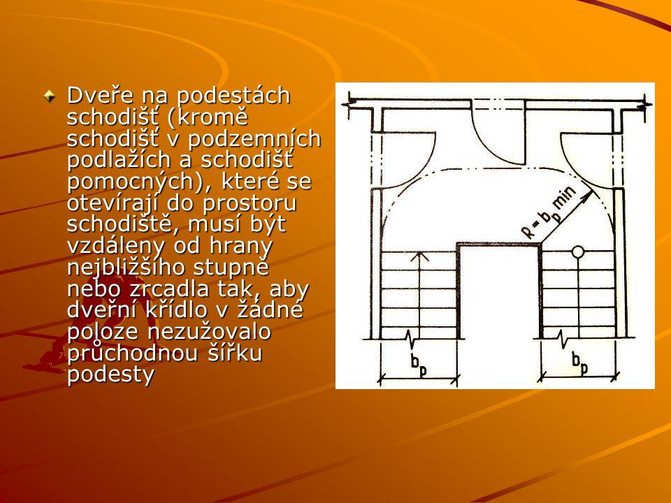 Dveře na podestách schodišť (kromě schodišť v podzemních podlažích a schodišť pomocných), které se otevírají do prostoru schodiště, musí být vzdáleny od hrany nejbližšího stupně nebo zrcadla tak, aby dveřní křídlo v žádné poloze nezužovalo průchodnou šířku podesty