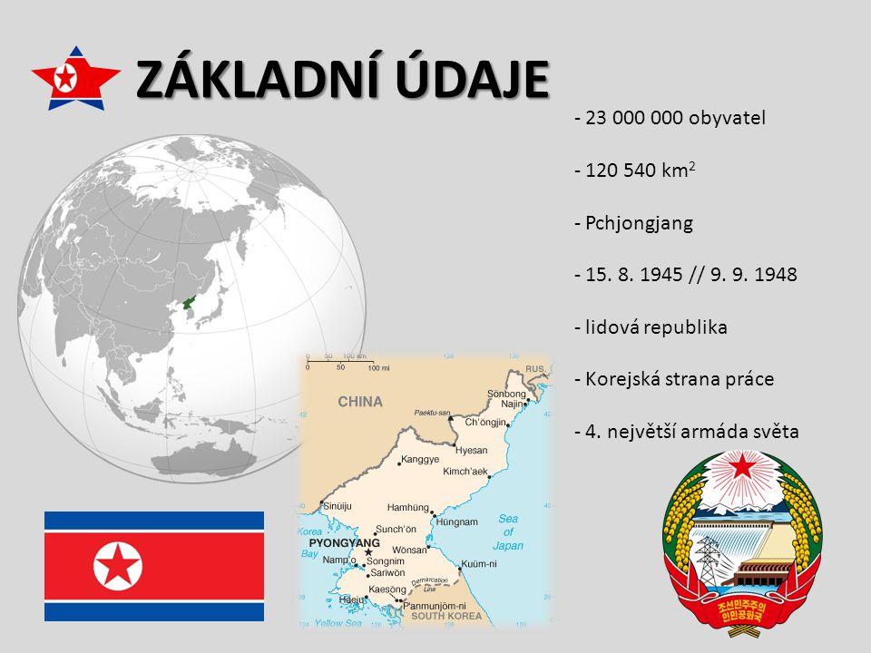ZÁKLADNÍ ÚDAJE 23 000 000 obyvatel 120 540 km2 Pchjongjang