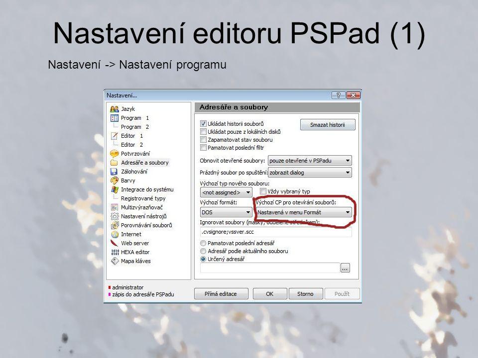 Nastavení editoru PSPad (1)