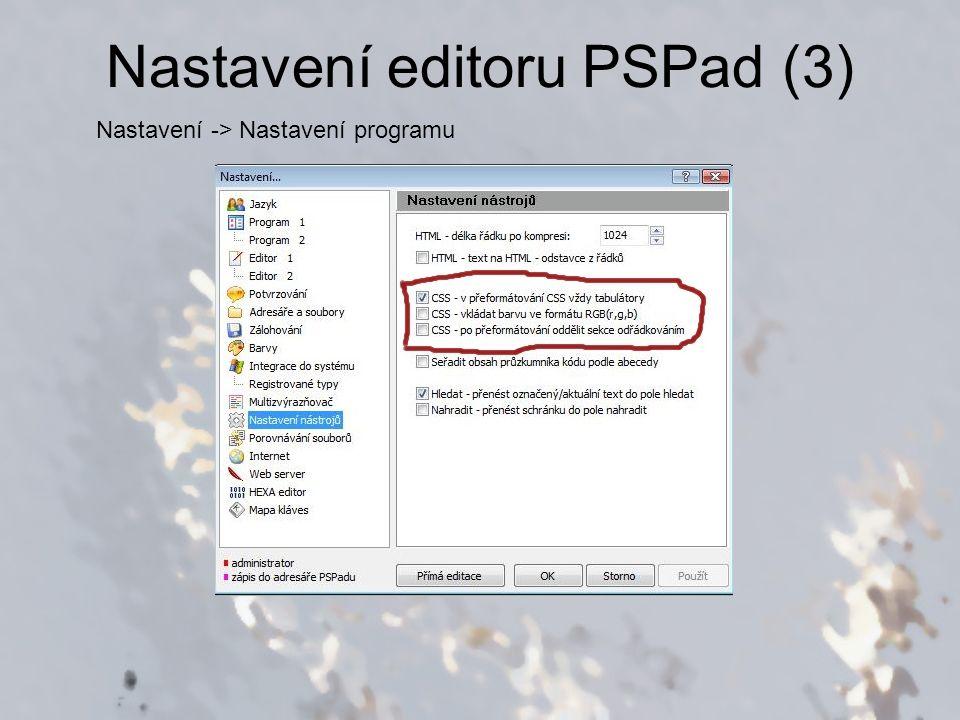 Nastavení editoru PSPad (3)
