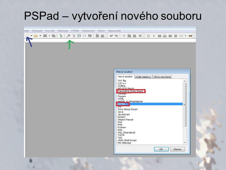 PSPad – vytvoření nového souboru