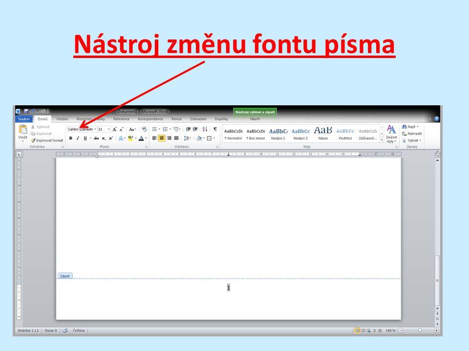 Nástroj změnu fontu písma