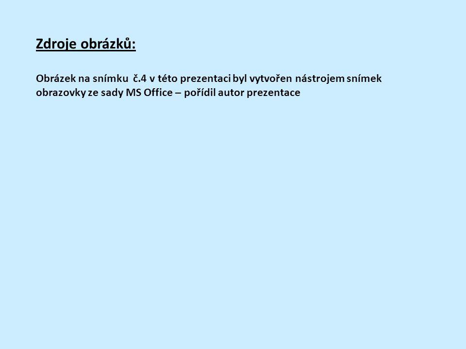 Zdroje obrázků: Obrázek na snímku č.4 v této prezentaci byl vytvořen nástrojem snímek obrazovky ze sady MS Office – pořídil autor prezentace.