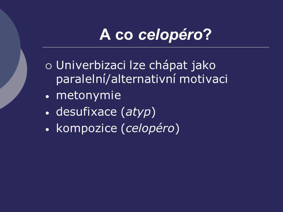 A co celopéro Univerbizaci lze chápat jako paralelní/alternativní motivaci. metonymie. desufixace (atyp)