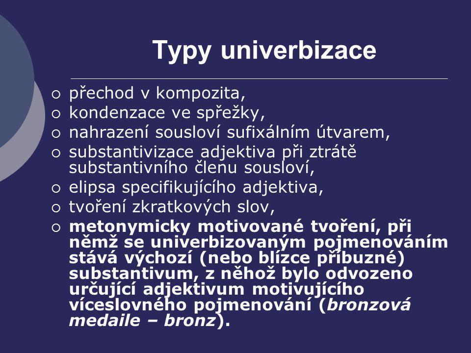 Typy univerbizace přechod v kompozita, kondenzace ve spřežky,
