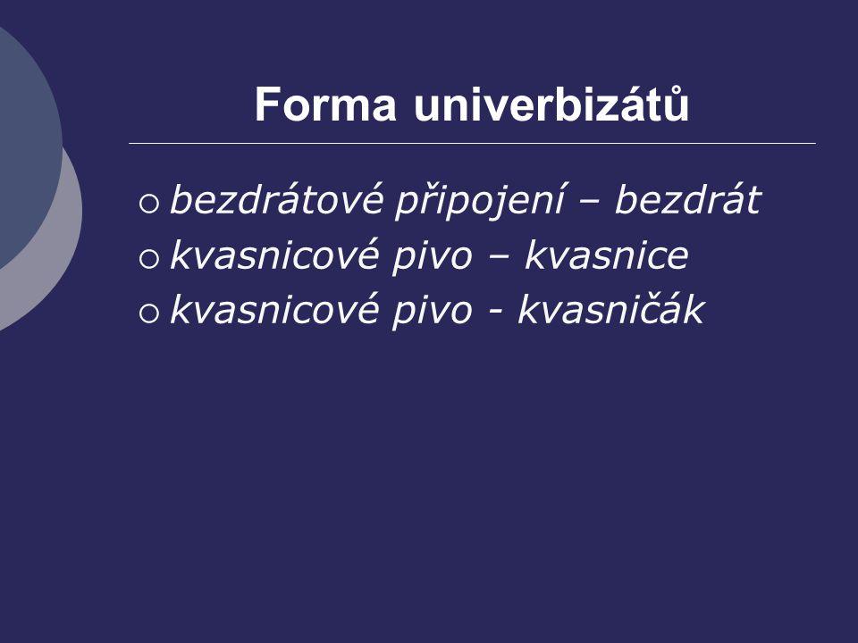 Forma univerbizátů bezdrátové připojení – bezdrát