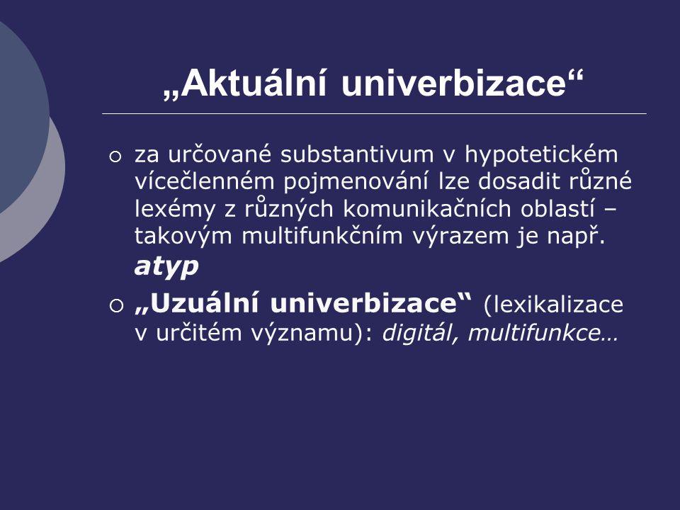 """""""Aktuální univerbizace"""
