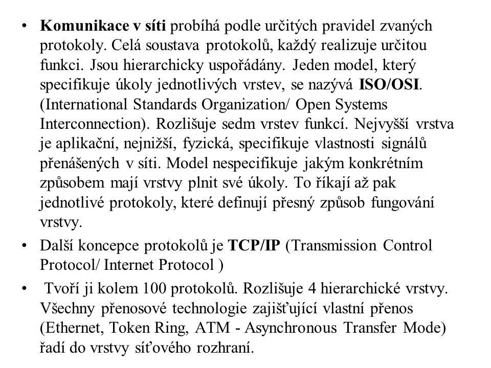 Komunikace v síti probíhá podle určitých pravidel zvaných protokoly