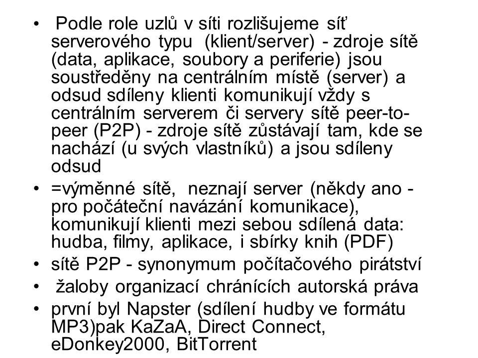 Podle role uzlů v síti rozlišujeme síť serverového typu (klient/server) - zdroje sítě (data, aplikace, soubory a periferie) jsou soustředěny na centrálním místě (server) a odsud sdíleny klienti komunikují vždy s centrálním serverem či servery sítě peer-to-peer (P2P) - zdroje sítě zůstávají tam, kde se nachází (u svých vlastníků) a jsou sdíleny odsud