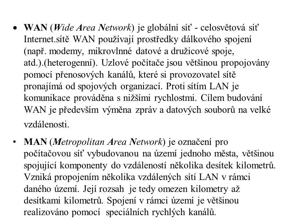 WAN (Wide Area Network) je globální síť - celosvětová síť Internet