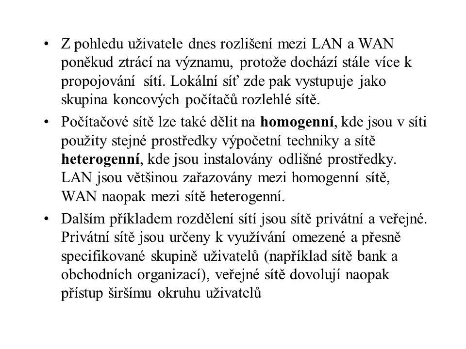 Z pohledu uživatele dnes rozlišení mezi LAN a WAN poněkud ztrácí na významu, protože dochází stále více k propojování sítí. Lokální síť zde pak vystupuje jako skupina koncových počítačů rozlehlé sítě.
