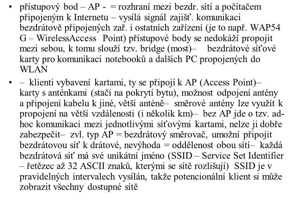 přístupový bod – AP - = rozhraní mezi bezdr