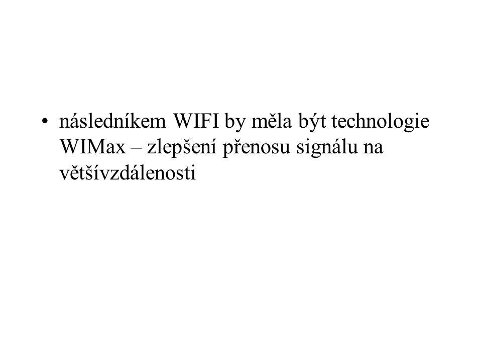 následníkem WIFI by měla být technologie WIMax – zlepšení přenosu signálu na většívzdálenosti