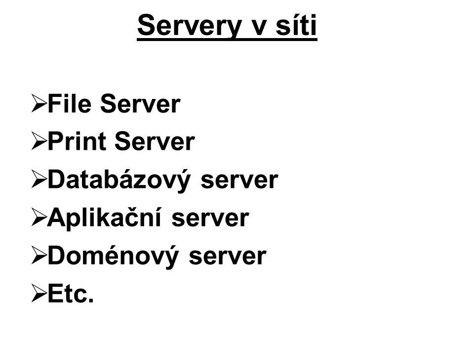 Servery v síti File Server Print Server Databázový server