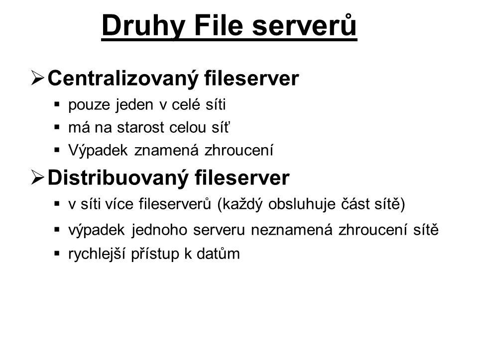 Druhy File serverů Centralizovaný fileserver Distribuovaný fileserver