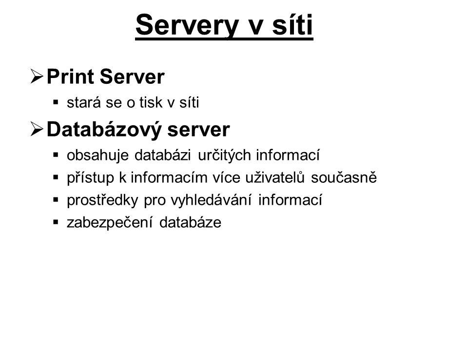 Servery v síti Print Server Databázový server stará se o tisk v síti