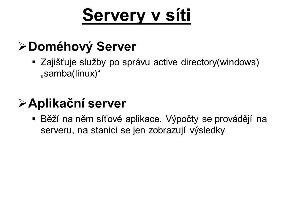 Servery v síti Doméhový Server Aplikační server