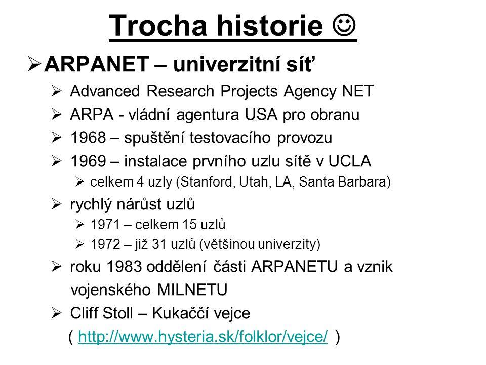Trocha historie  ARPANET – univerzitní síť
