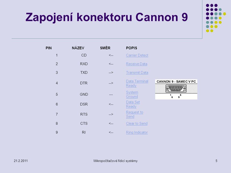 Zapojení konektoru Cannon 9