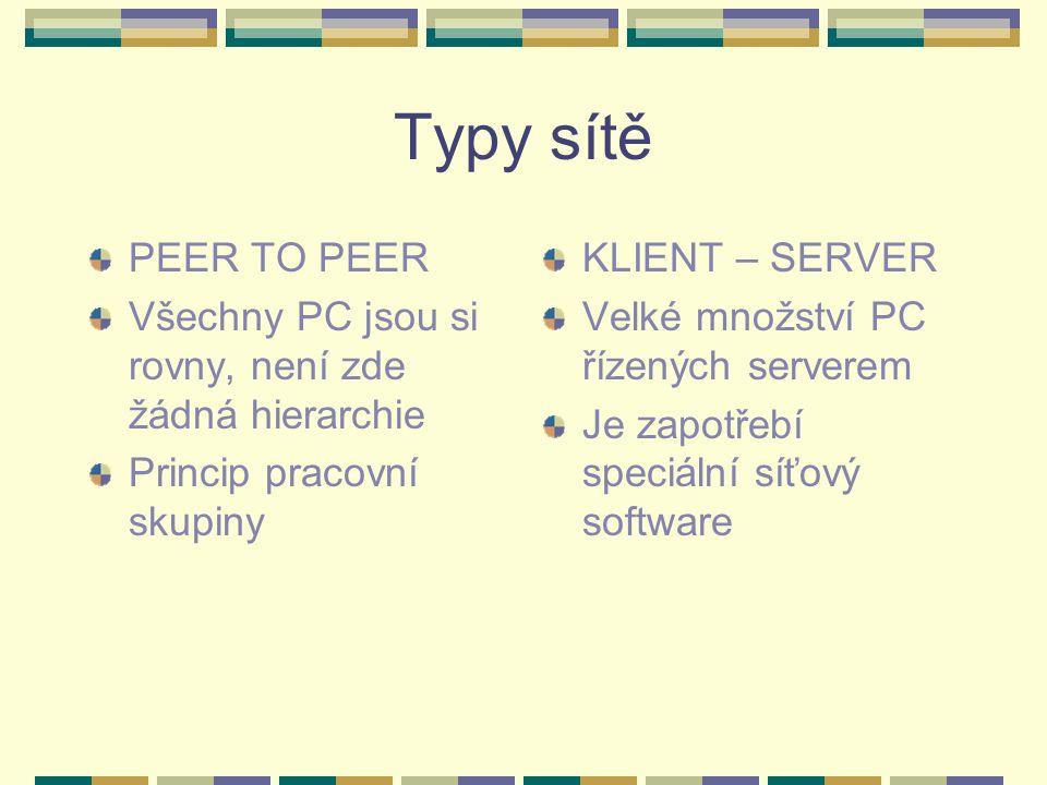 Typy sítě PEER TO PEER. Všechny PC jsou si rovny, není zde žádná hierarchie. Princip pracovní skupiny.