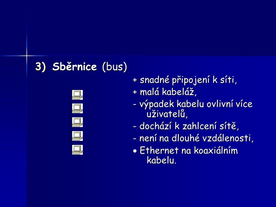 Sběrnice (bus) + snadné připojení k síti, + malá kabeláž,