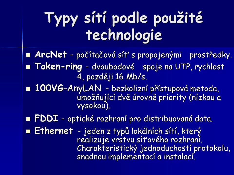 Typy sítí podle použité technologie