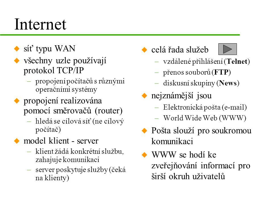 Internet síť typu WAN všechny uzle používají protokol TCP/IP
