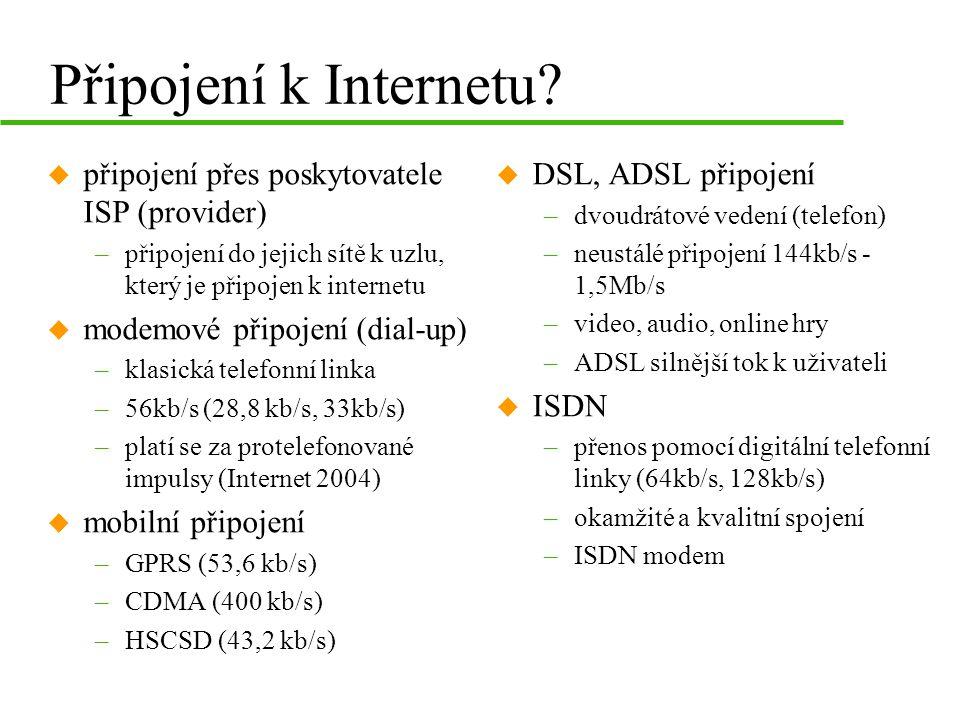 Připojení k Internetu připojení přes poskytovatele ISP (provider)
