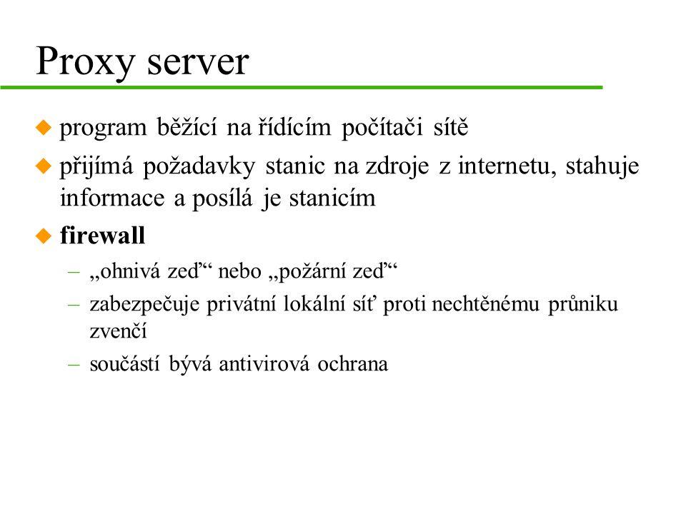Proxy server program běžící na řídícím počítači sítě