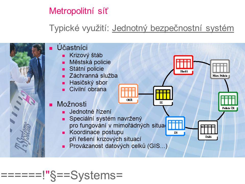 Metropolitní síť Typické využití: Jednotný bezpečnostní systém