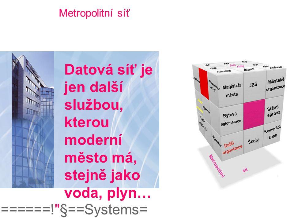 Metropolitní síť Datová síť je jen další službou, kterou moderní město má, stejně jako voda, plyn…