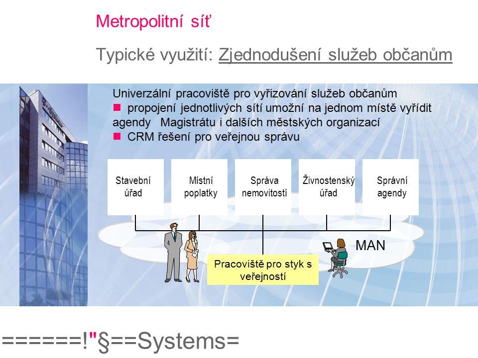 Metropolitní síť Typické využití: Zjednodušení služeb občanům