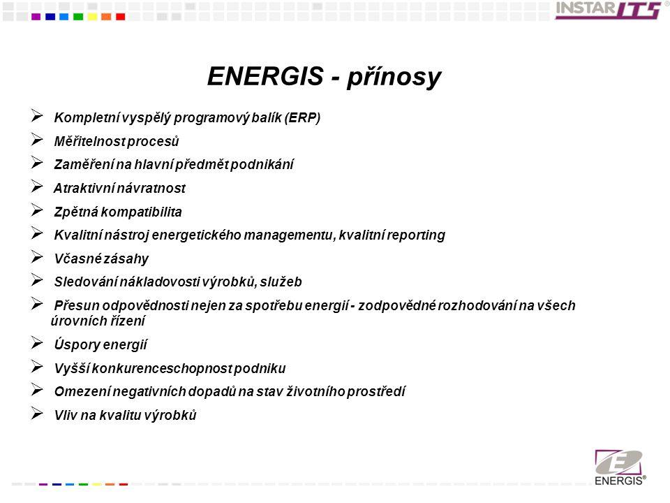 ENERGIS - přínosy Kompletní vyspělý programový balík (ERP)
