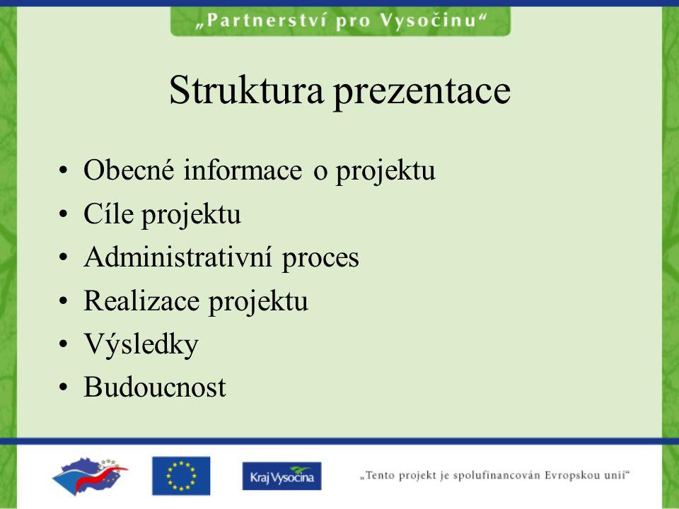 Struktura prezentace Obecné informace o projektu Cíle projektu
