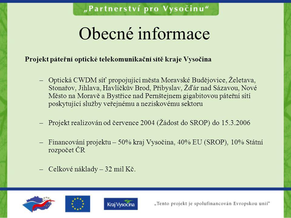 Obecné informace Projekt páteřní optické telekomunikační sítě kraje Vysočina.