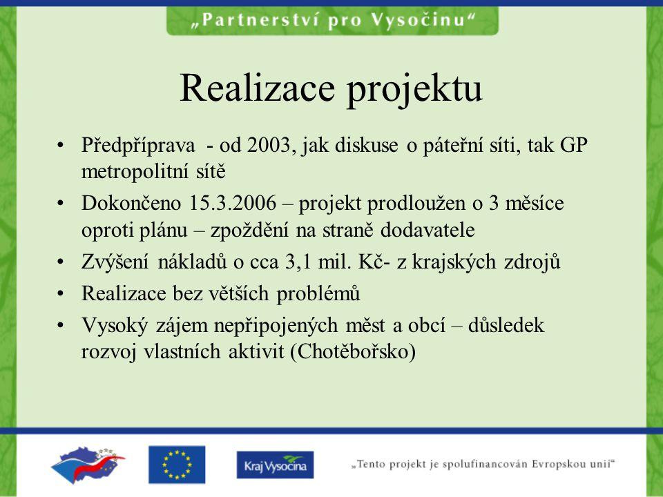 Realizace projektu Předpříprava - od 2003, jak diskuse o páteřní síti, tak GP metropolitní sítě.