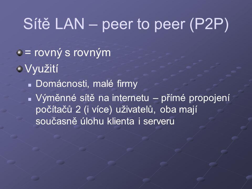 Sítě LAN – peer to peer (P2P)