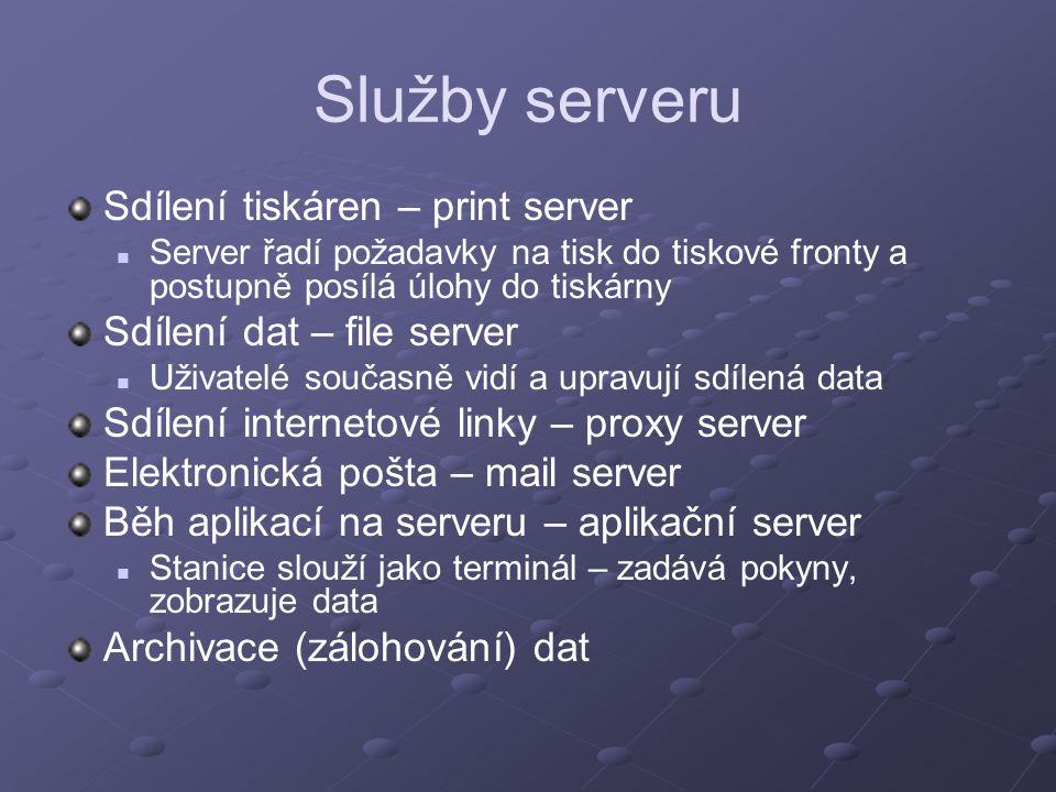 Služby serveru Sdílení tiskáren – print server