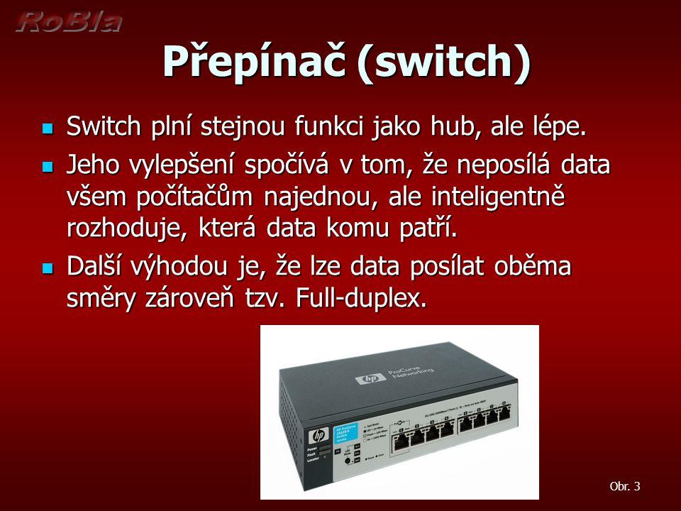 Přepínač (switch) Switch plní stejnou funkci jako hub, ale lépe.